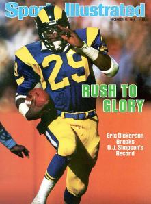 Eric Dickerson on the cover of Sports Illustrated in 1984