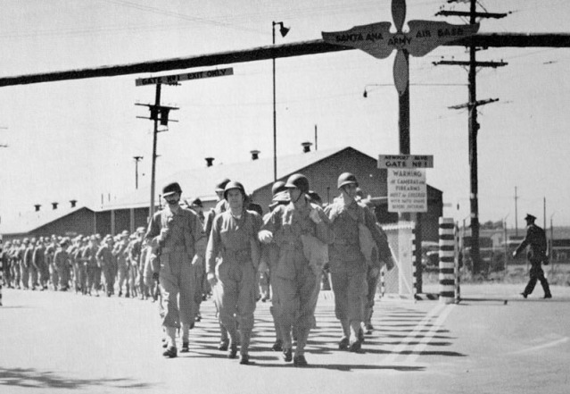 A gate entrance to Santa Ana Army Air Force Base during World War II