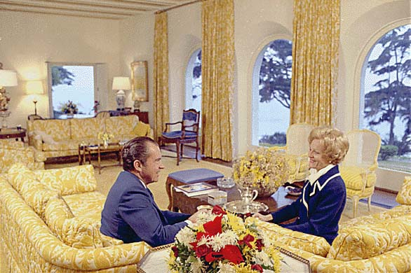 Richard Nixon and Pat Nixon at La Casa Pacifica in San Clemente