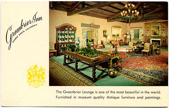 Postcard for the Greenrbrier Inn in Garden Grove.