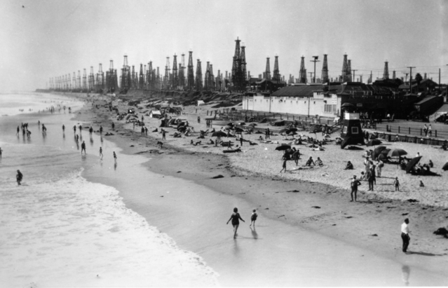 Huntington Beach in its days as an oil drilling center.