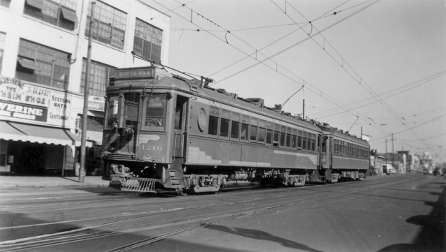 A Red Car on the route from Los Angeles to Santa Ana, 1940s (Orange County Archives).
