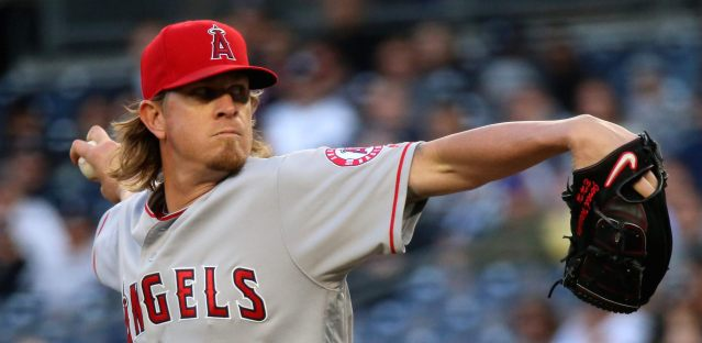 JERED WEAVER yielded only four hits in 62. innings Sunday as the Angels beat the Rangers 3-2 (Flickr/Arturo Pardavila III).