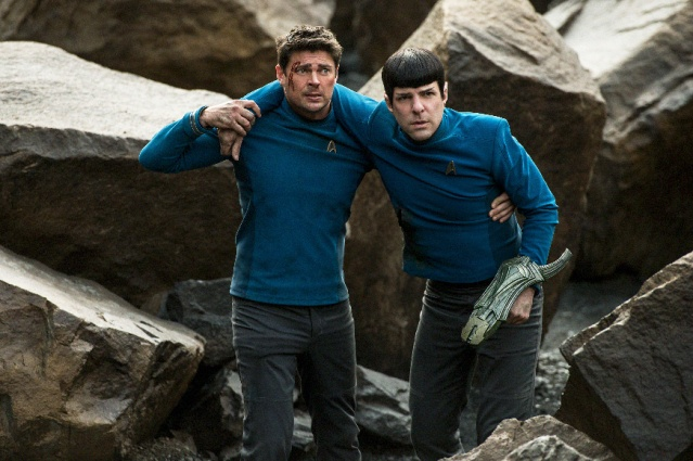 "SCOTTY (Karl Urban) and Spock (Zachary Quinto) in ""Star Trek Beyond."""