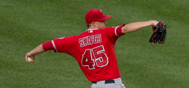 TYLER SKAGGS pitched six shutout innings in the Angels' 2-1 loss to the Texas Rangers Friday (Flickr/Keith Allison).