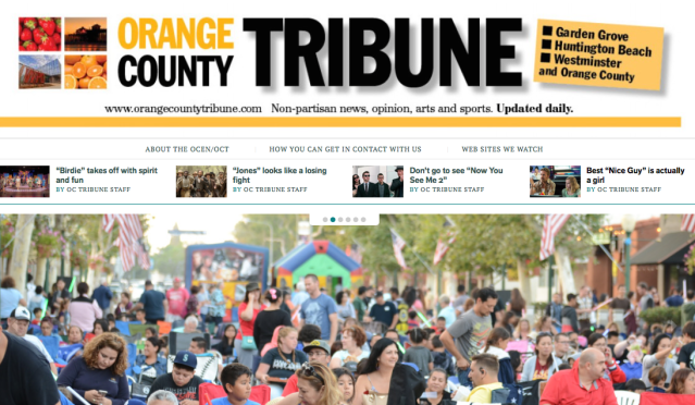 ORANGE COUNTY TRIBUNE covers Garden Grove, Huntington Beach, Westminster and other Orange County news of interest.