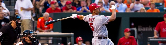 ALBERT PUJOLS hit two home runs in the Angels' 10-3 win over the Mariners Saturday night.