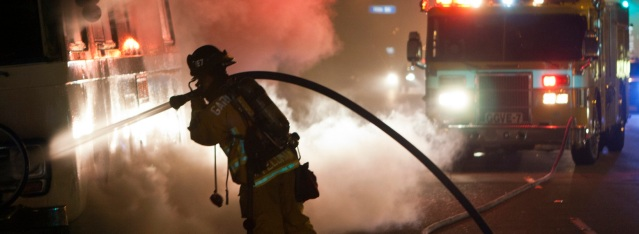 GARDEN GROVE firefighters in action (Dooley photo).