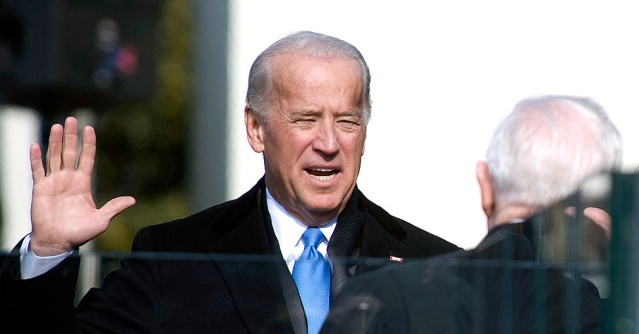 "JOE BIDEN (pictured being sworn in as vice president in 2009) proposed a ""moonshot"" to cure cancer (US Navy photo)."