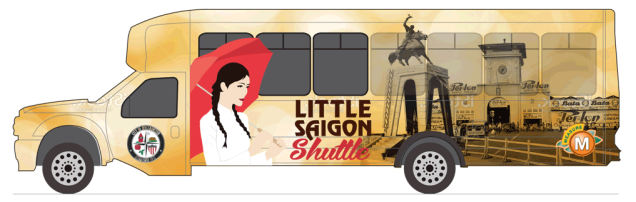 "THE MOST POPULAR of four proposed ""wraps"" for the Little Saigon bus shuttle (OCTA image)."