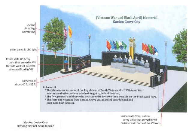 MOCKUP of the proposed Vietnam War and Black April Memorial (City of Garden Grove).