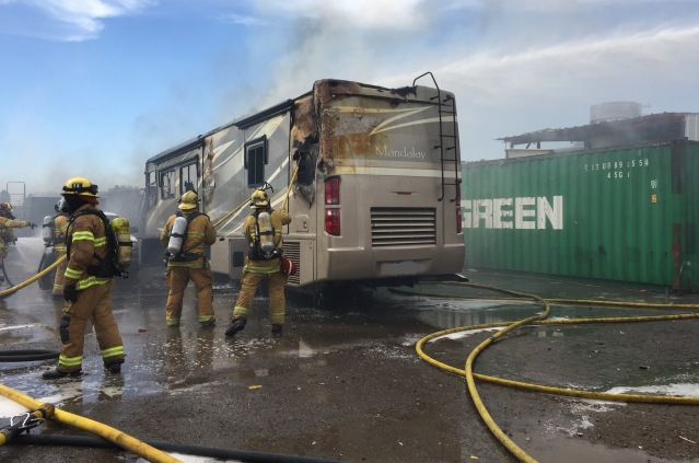FIREFIGHTERS at a blaze Monday afternoon on Harbor Boulevard in Garden Grove (GGFD photo).