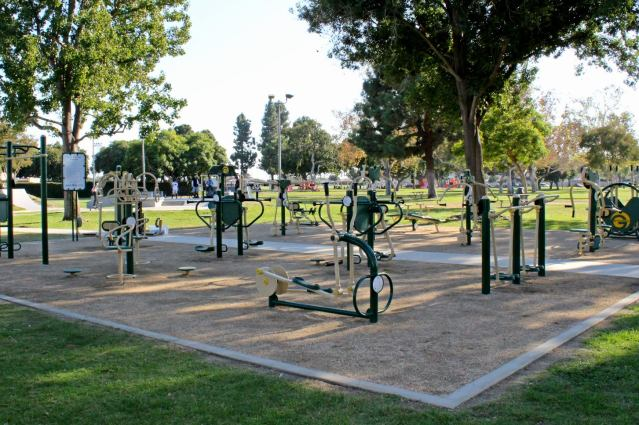 OUTDOOR fitness equipment is now in place at Garden Grove Park (City of Garden Grove photo).