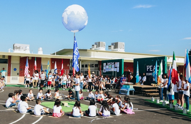 STUDENTS at Carrillo School release a balloon globe (GGUSD photo).