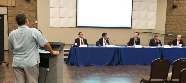 TONY FLORES addressing the Garden Grove City Council on Oct. 4 (OC Tribune photo).