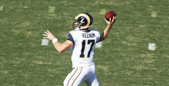 CASE KEENUM, the beleaguered Rams' quarterback, has the worst QB rating in the NFL (Rams  photo).