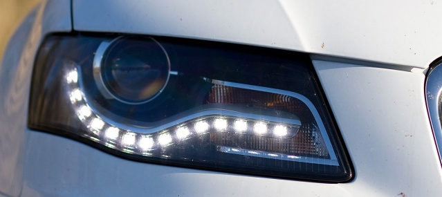 LEDs used in daytime running lights on an Audi sedan (Wikipedia photo).