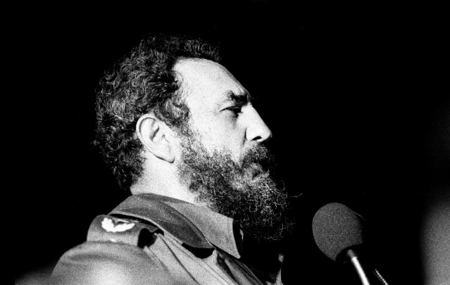 FIDEL CASTRO speaking in Havana, Cuba, in 1978 (Wikipedia photo by Marcelo Montecino).