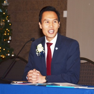 OUTGOING MAYOR Bao Nguyen making his final remarks Tuesday night (OC Tribune photo).