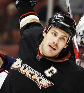 Nov 19, 2010 - Anaheim, California, U.S. - Anaheim Ducks center RYAN GETZLAF, center, break free from a fight against the Columbus Blue Jackets during the third period of an NHL game at the Honda Center..(Credit Image: