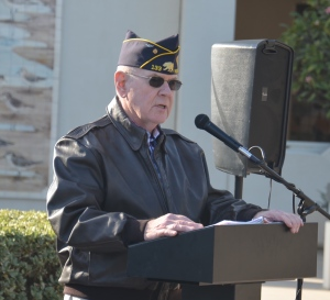 JIM GHORMLEY was the master of ceremonies for the Pearl Harbor Day event Wednesday (OC Tribune photo).