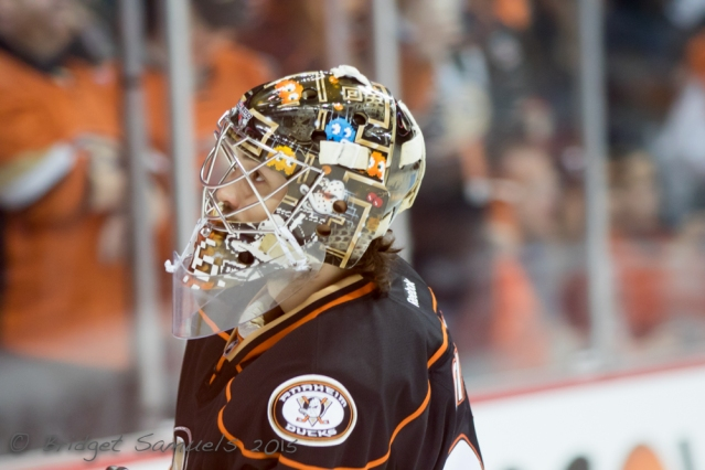JOHN GIBSON had 31 saves in goal for the Anaheim Ducks in their 3-1 win Thursday over the Calgary Flames (Photo by Bridget Samuels).