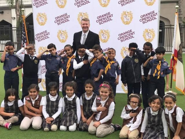 GARDEN GROVE MAYOR Steve Jones with Orange Crescent School students (Facebook).