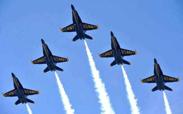 THE BLUE ANGELS, the aerial acrobatic team of the U.S. Navy team, will do a survey flight over the Huntington Beach pier on Thursday.