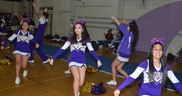 SANTIAGO High cheerleaders had a lot to cheer about in the Cavs' win over Garden Grove Friday night (OC Tribune photo).