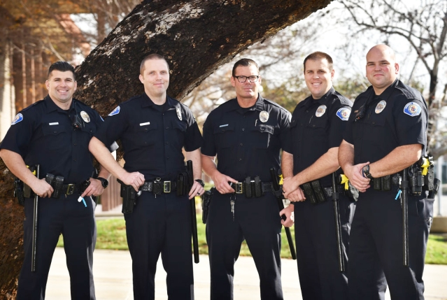 FIVE Garden Grove PD lateral hires from other agencies from left are, Adam Nikolic, Brian Clasby, Robert Gifford, Eric Ruziecki and Derek Link. (Photo by Steven Georges/Behind the Badge OC)
