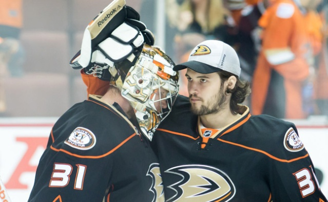 JOHN GIBSON (left) had a team-record 51 saves in goal in Sunday's 4-3 shootout win over the Philadelphia Flyers.