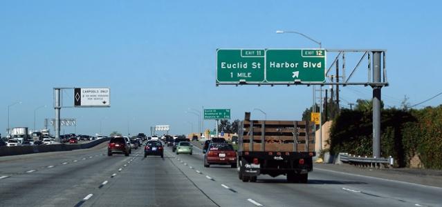 GARDEN GROVE Freeway approaching Harbor Boulevard (Asphalt Planet Photo/Scott Stevens).