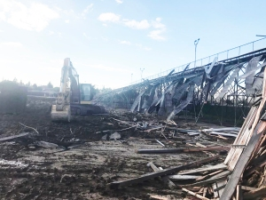 "DE-CONSTRUCTION of ""Jason Field"" at Garden Grove High School (GGUSD photo)."