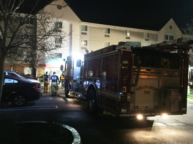 THE CANDLEWOOD SUITES hotel in Garden Grove was the location of a pepper spray incident Wednesday night (GGFD photo).