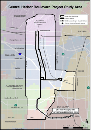 THE STUDY AREA takes in Fullerton, Anaheim, Garden Grove and Santa Ana (OCTA graphic).