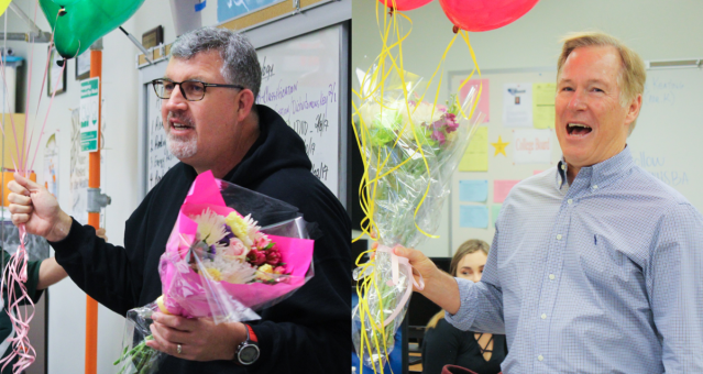 GREG GARDINER (left) of Edison High School and Roger Keaton of Ocean View High School have been honors as Teachers of the Year for the Huntington Beach Union High School District (HBUSD photo),